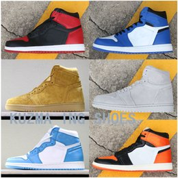 f2e872be08ba3a High Quality ALL THOSE 1 OG HIGH Basketball Shoes Blue Moon Bred Toe Men 1s  UNC Wheat Sneakers Chicago Trainers shoes Grey Suede size 36-47