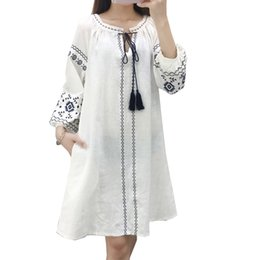 Wholesale Vintage Dress Shirts - 2018 Spring dress for women long sleeve o-neck Vintage thin style Embroidery white red and blue colors