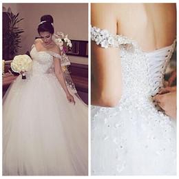 eef4ca00fde1 abito da sposa in rilievo bianco sequin Sconti 2018 Off Sparkly White Ball  Gown Abiti da