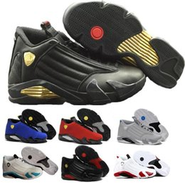 Wholesale Brand Shoes Online - Fusion Basketball Shoes Sneakers Men 14 Varsity Red Suede Thunder 14s XIV Playoffs Mens Man Real Replicas China Brand Online Sale Size 7-13