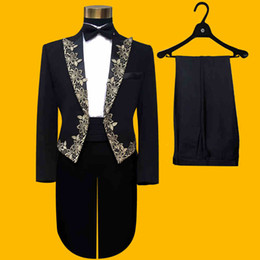 Wholesale Men S Suit Jacket Tailcoat - (Jacket+Pants+Bowtie) Fashion Brand Mens suits Tuxedos Tailcoat Male Wedding Slim Blazers Prom Groom Black Embroidered Suit