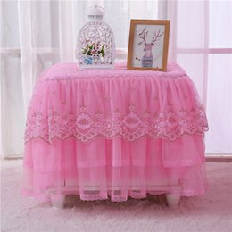disposable tableware birthday 2018 - Lace Bedside Cabinet Cover Series Tables Covers Decor Table Skirts Tableware Wedding Party Birthday Reception Tables Ornament 18hq gg