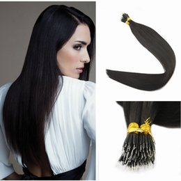Wholesale nano ring 1g hair extensions - Indian Remy Human Hair Extensions Micro Nano Ring Tip Hair Extensions #1B Natural Off Black 1g Strands 100Strands 100g