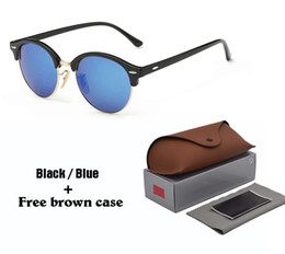 27dab0a9442 High Quality 4246 Brand Designer Round Sunglasses Men Women New Arrival Sun  glasses Plank Frame Flash uv400 Mirror Lenses with cases and box