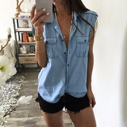 Wholesale Demin Top - Hot 2018 Summer Women Blouses Demin Blue Solid Tops Vintage Sexy Blusas Lapel Neck Short Sleeve Buttons Shirts