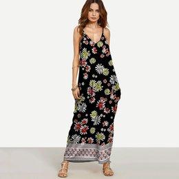 Wholesale Double Maxi Long Dress - 13 Color Plus Size Double V Neck Floral Maxi Camisole Dress Sleeveless Printed Casual Women's Condole Belt Long Dress Large Size Beach Wear