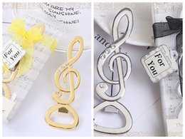 flag boxes wholesale 2018 - (25 Pieces lot) Silver and Gold Wedding and Party Favors of the music love Bottle Opener Wedding souvenirs For bridal showers