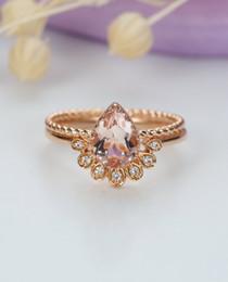 Rosa amarilla conjuntos de joyas online-MYRAY pera en forma de corte Natural Morganite anillo de compromiso Set Diamond Wedding Band 14k Rose White oro amarillo mujeres joyería nupcial
