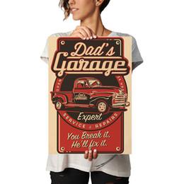 Nuovo modello di testo di arrivo Garage del papà Classico vintage Kraft Paper Poster Adesivo da parete Bar Cafe Restaurant Living Room da