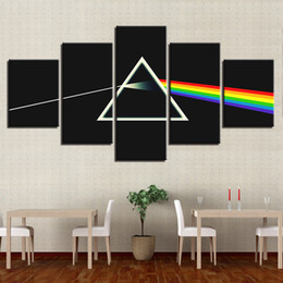 Wholesale rock poster art - Modern Modular Wall Art Canvas Pictures Frame 5 Panel Rock Music Band Pink Floyd Painting Poster Home Decorative For Living Room