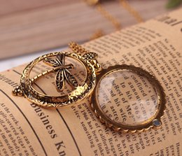 Wholesale Glass Dragonfly Pendant - Trendy Antique Bronze Insect Dragonfly Magnifier Glass Pendant Necklace With Closes And Open Vintage Women Link Chain Jewelry Free DHL D547S