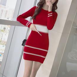 Wholesale Korean Mini Dress Sexy - 2018 New Korean Style Sweater Knitted Mini Dresses Elastic O Neck Long Sleeve Sexy Lady Bodycon Robe Vestidos