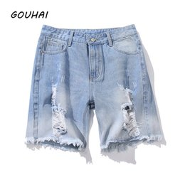 Wholesale Destroyed Jeans Shorts - Destroyed Ripped Design Men Short Jeans Men Denim Shorts Top Quality 2018 Summer Fashion Causal Solid Shorts Plus Size M-5XL
