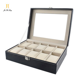 Wholesale Cases Make - New Hand Made Black PU Leather Watch cas10 Grid Watch Case Flannelette Pillow Box For Watches Organizer Storagebox