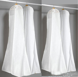 Wholesale Garment Bags For Travel - 2018 Latest Cheap In Stock Big Bags For Wedding Dress Gown White Dust Bag Long Garment Cover Travel Storage Dust Covers High Quality