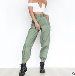 ketten für hosen Rabatt Sommer Weibliche Hohe Taille Pluderhosen Frauen Mode Schlank Einfarbig Lange Hosen Hip Hop Pant Streetwear Mit Ketten