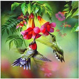Tirage de fleurs en Ligne-Diamant DIY Paysage Peinture Kits Oiseaux Fleurs Percé Dessin Point De Croix Décoration De La Maison Broderie Arts Artisanat Cadeaux 9bm bb