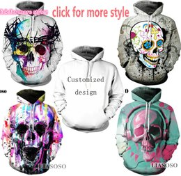 Wholesale Loose Skull Sweater - New Fashion Couples Men Women Unisex Clothes Iron Maiden and Skull 3D Print Hoodies Sweater Sweatshirt Jackets Pullover Top TT125