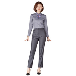 disfraz de mujer de oficina Rebajas Trajes de mujer de negocios Trajes Slim Work Wear Office Lady Trajes de pantalón de manga larga para mujeres PantalonesCamisetas 2 piezas Conjuntos
