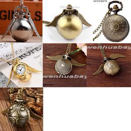 b474bb0f40e6 7 Diseño Harry Potter Collar Reloj de Bolsillo Vintage Snitch Bola de Oro  Plata Bronce Fob Reloj Cadena Colgante Reloj Hombres Mujeres Regalo
