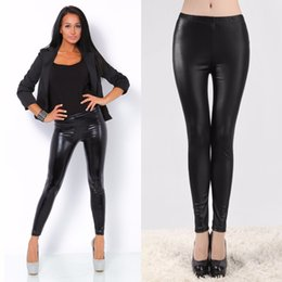 Wholesale Leggins Women Winter - Sexy Leggings Women 2017 Winter PU Leather Leggings Shiny Synthetic Black Slim Skinny Stretchy Pencil Legging Women Leggins