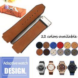 Cubo azul on-line-Pulseira de couro genuíno pulseira de borracha de silicone para HUB Watch Man Strap Pulseira de couro preto Brown impermeável de 25x19mm implantação Buckle 22mm