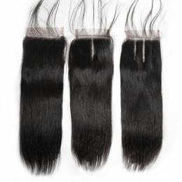 Fermeture à trois parties de cheveux vierges en Ligne-Vague de corps droite de cheveux humains brésiliens de Vierge de fermeture de dentelle dans la partie libre / moyenne / en trois parties