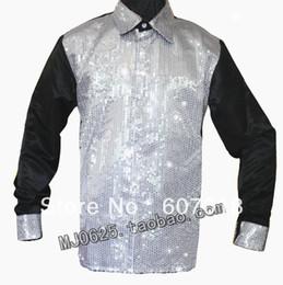 Wholesale Xs Sequin Dress - MJ Michael Jackson 's Billie Jean Sequin Tuxedo Shirt in 1980's For Performance Party Show Handmade