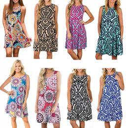 Wholesale Swing Dress Wholesale - 2018 Fashion Clothing Women's Summer Sleeveless Bohemian Print Tunic Swing Loose T-Shirt Dress With Pockets 104