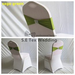Wholesale Wedding Chairs Covers For Sale - 100pcs Hot Sale Chair Band \ Spandex Chair Sash Bow For Chair Cover Include Net Diamond Buckle Free Shipping