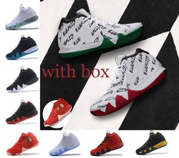 Wholesale High Halloween - With original box new Kyrie Irving 4 Basketball Shoes for High Quality 4s BHM Boston Green White trainers Sports Sneakers Size 40-46