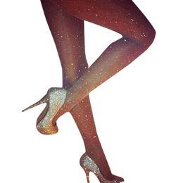 silk hooks UK - Sexy Women Pantyhose Full Stars Sequined Stretchable Female Fitness Mesh Fishnet Tights Prevent Hook Silk Nylons Medias Femme Z3