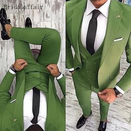 2019 smoking vert décontracté 2018 Mode Vert Hommes Costume Casual Blazer Fait Sur Mesure Taille Hommes De Bal Costume De Mariage Groom Tuxedo Veste Pantalon Gilet promotion smoking vert décontracté