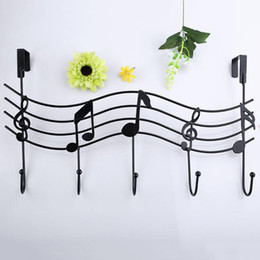 Wholesale Clothes Hanging Shelf - Wholesale- Music Wall Hook Door Hanger Kitchen Storage Rack Cupboard Hanging Hook Shelf Dish Shelf Bathroom Organizer Bags Clothes Holder