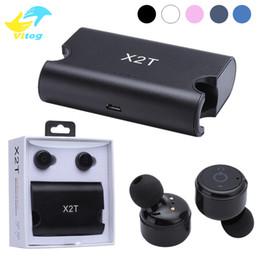 Auricular bluetooth móvil online-Auriculares inalámbricos Gemelos X2T Auriculares Bluetooth CSR4.2 Auriculares Estéreo con Caja de Cargador Magnético para teléfono móvil