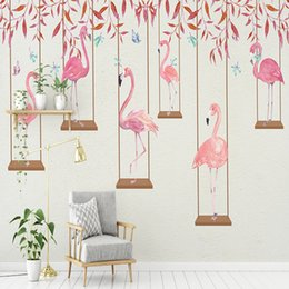 Wholesale Japan Fabric Roll - photo wallpaper high quality 3d effect cartoon kids room wall mural pink flamingo bedroom living room background wallpaper
