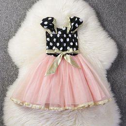 Wholesale Dress Polka Dot Pink Girls - Kids Polka Pot dress Girl short sleeve Dress with Bow Children sweet Party Fancy Costume for 1-4T