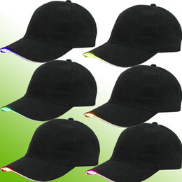 Wholesale wholesale lighted baseball caps - 7 color for choose LED lighting fashion baseball hats Black Cotton Fabric Glow Club Party Hats Travel Baseball Cap