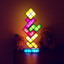 7 Colors Night Light Tetris Stackable Tangram Puzzle LED Induction  Interlocking Desk Lamp 3D Toys Ideal Gift Magical Decorations df64f3c21dc3