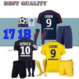 Wholesale Sports Jersey Kits - 17 18 NEYMAR JR kit DANI ALVES AURIER CAVANI DI MARIA PASTORE Verratti 2017 2018 neymar jr jersey sports football LUCAS soccer jerseys