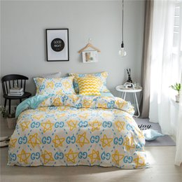 Wholesale Light Pink Queen Sheet Set - bedding sets yellow white star print geometric bedclothes twin double queen duvet cover bed sheet pillowcases bedline for boys