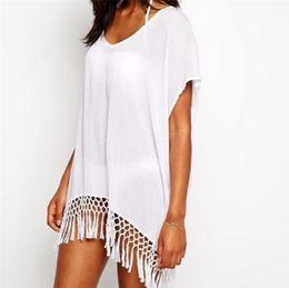 Maiô de borla branca on-line-2018 verão sexy beach dress com borlas pareo beachwear túnica branca chiffon sarong swimsuit dress swimwear
