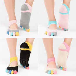 Wholesale womens nylon socks - Womens Yoga Socks Non-slip Cotton blend sports dance Socks Five Toe backless Peep Toe Breathable Pilates Sock colorful kids socks