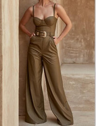 1e23435e2c2 2018 new arrival women Brown Sleeveless Sexy Jumpsuit v neck celebrity  Evening Party Bodycon Bandage Jumpsuits wholesale