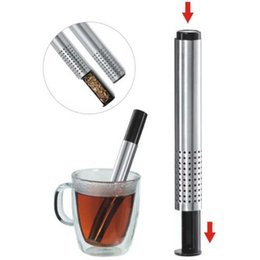 Wholesale tea sticks - Tea Infuser Strainer Stick Stainless Steel Pipe Design Mesh Tea Filter Loose Leaf Tea Strainers Coffee Teapot Tools CCA9201 50pcs