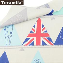Bettwäsche stoff meter online-Teramila 100% Baumwolle Weiß Textile Stoff Meter Bettwäsche Patchwork Quilten Nähen Tuch Muti-farbe Dreieck Design Telas Tissu