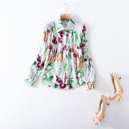 Wholesale Vegetable S - European and American women's wear in 2018 The new spring Long sleeve lapel vegetable printing Silk shirt