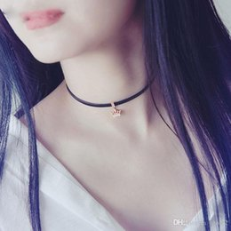 Wholesale Short Neck Chains - Black leather rope jewelry Simple Fashion Crown Necklace Short Korean New Neck Collar Clavicle Necklace