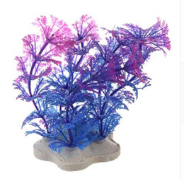 2019 piante artificiali viola Pianta artificiale 10 cm acquario decorazione pianta acquatica viola + blu piante artificiali viola economici