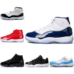 Wholesale Mens Gowns - 2018 New Designer 11 UNC Blue Mens Women Basketball Shoes Cap and Gown Gym Red Barons Bred Concord 45 Space Jam Sports Sneakers